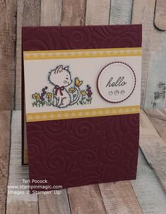Pretty Kitty and Beauty Abounds from Stampin Up. Created by UK Independent Demonstrator Teri Pocock. Pretty Cats, Pretty Kitty, Here Kitty Kitty, Hello Kitty, Crafters Companion Cards, Dog Cards, This Little Piggy, Animal Cards, Cards For Friends