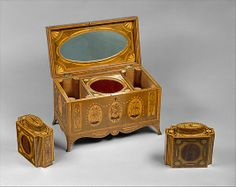 Tea Chest with Tea Caddies, ca. 1790,  English, Cedar and oak veneered with maple, harewood, tulipwood, kingwood, satinwood, amaranth, holly, and stained holly; foil lining