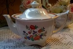 Beautiful rare  floral pattern china teapot by Alfred Meakin