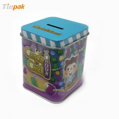Square Candy Tin Box With Coin Slot. http://www.tinpak.us/Products/WholesaleSquareCandyTinBox.html