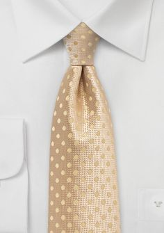 Golden Straw Colored Tie with Dots | Bows-N-Ties.com