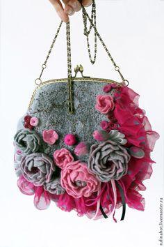 Купить Сумка войлочная. В дымке розового сада - сумка войлочная, сумка войлок, войлок