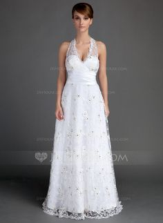 Corte A/Princesa Cabestro Hasta el suelo Satén Encaje Vestido de novia con Volantes Bordado (002015721) - JJsHouse