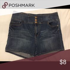 "Forever 21 High Waisted Shorts 3"" inseam. Dark wash. Three button closure. High waisted. Stretchy. Forever 21 Shorts Jean Shorts"