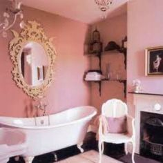 Inspiration for my future bathroom! Pink walls, white utilities, gold or silver accents. Can't wait!