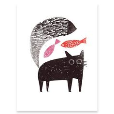Jane Ormes - Cat With Fish On Its Mind, Silkscreen Print, 16 x 20cm