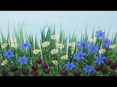 EASY Acrylic wildflowers painting. This is a speedpainting. Click the links below to see the FULL TUTORIAL. HOW TO PAINT WILDFLOWERS: (1) How to Paint Long G...