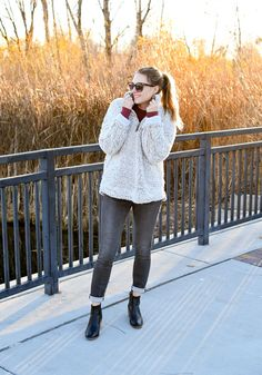Nubby pullover cozy fall outfit with grey jeans and black boots — Cotton  Cashmere Cat Hair 55ea8cf76