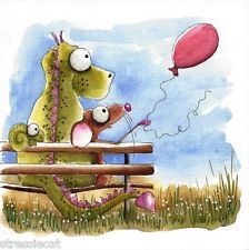 Original watercolor painting whimsical folk art dragon mouse red balloon bench