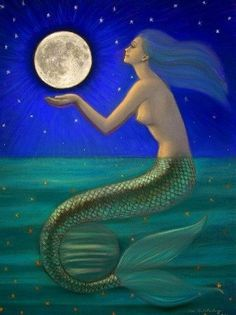 Mermaid art full Moon Sea