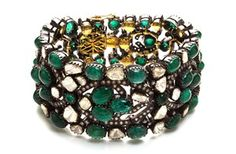 Zambian emerald and diamond cuff by Amrapali