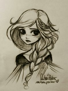 Inktober #5: Elsa with an alternative hairstyle. Inspired by Brittany Lee's concept art ♡ (artist: mitsouparker)