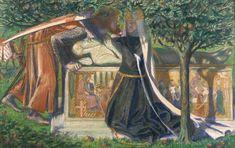 King Arthur and Guinevere Painting | Dante Gabriel Rossetti 'Arthur's Tomb', 1860
