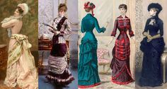 """Natural Form Era (1877-83) paintings and a fashion print showing the kind of outfits that were considered """"natural"""" by the Victorians. Note that bustles were worn to a degree during the era."""