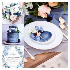 Blue an peach color inspiration for your wedding including some beautiful new wedding trends: drip cake, blue-peach combination, golden cutlery and geode place cards