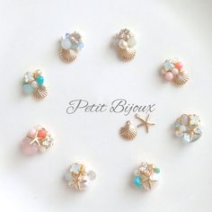 ハンドメイドマーケット minne(ミンネ)| 再再販✴︎小さな海のビジューアクセサリー✳︎ Kawaii Jewelry, Kawaii Accessories, Handmade Accessories, Cute Jewelry, Handcrafted Jewelry, Diy Jewelry, Jewelry Design, Fashion Jewelry, Jewelry Making