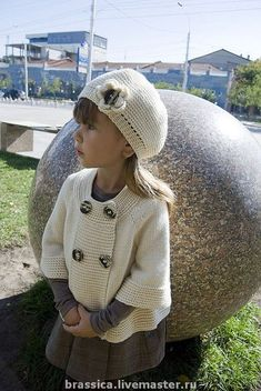 """Set knitted for the girl """"french knitting baby clothes Kids Knitting Patterns, Knitting For Kids, Crochet For Kids, Crochet Baby Cardigan, Knit Crochet, Girls Sweaters, Baby Sweaters, Quick Knits, Pulls"""