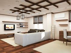 wood false ceiling design ideas for living room with white sofa set
