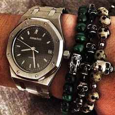http://chicerman.com  violamilano:  Classic VM combo with a AP watch by @kevinshow Bracelets: White Jaguar Skull & Spring Forest. Find your bracelets online at www.violamilano.com #vm #violamilano #handmade #madeinitaly #luxury #sartorial #timeless #audemarspiguet #dailywatch  #menshoes