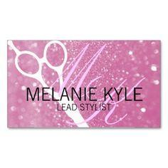Chic Glitter Hair Stylist Scissors Business Cards
