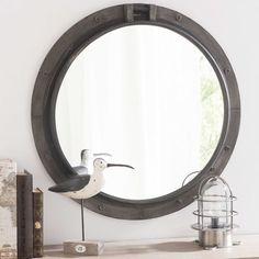 Miroir en métal noir H 74 cm BALTIC
