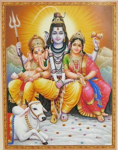 Shiva, Parvati, Ganesha with Nandi - Hindu Posters (Reprint on Paper - Unframed) Shiva Parvati Images, Hanuman Images, Lord Shiva Hd Images, Shiva Hindu, Ganesh Images, Hindu Art, Shiva Art, Lakshmi Images, Durga Maa