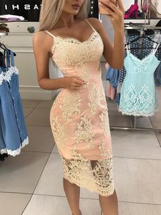 Spaghetti Strap Crochet Lace Overlay Bodycon Dress Women's Best Online Shopping - Offering Huge Discounts on Dresses, Lingerie , Jumpsuits , Swimwear, Tops and More. Look Fashion, Womens Fashion, Fashion Design, Cheap Fashion, Fashion 2018, Affordable Fashion, Ladies Fashion, Fashion Fashion, Fashion Online