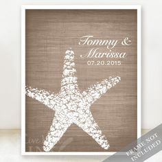 Starfish Connection - Custom Beach Wedding Name Date Print - Personalized Wedding Gift - Bridal Shower Gift - Engagement Present - Unframed (19.00 USD) by livewellink