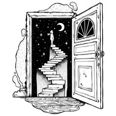 Open door into a dream. Abandoned ruin stairway to the night with a boy looking at moon sky. Symbol of imagination creative idea motivation dreams. Space Drawings, Dark Art Drawings, Art Drawings Sketches Simple, Pencil Art Drawings, Tattoo Sketches, Tattoo Drawings, Illustration Tattoo, Ink Illustrations, Doodle Art Designs