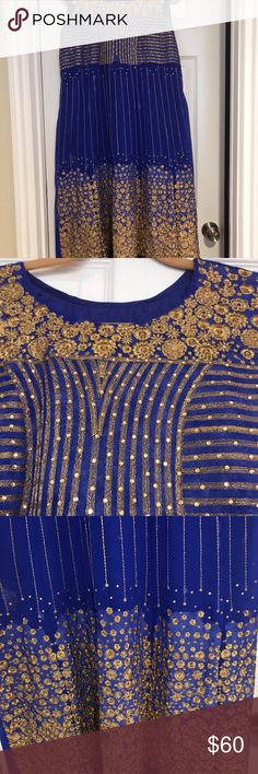 Shalwar Kameez Dupatta set Beautifully Blue with gold embroidery outfit Other Embroidery On Clothes, Gold Embroidery, Shalwar Kameez, Blue Gold, Tapestry, Best Deals, Outfits, Beauty, Things To Sell