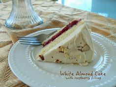 White Almond Cake with Raspberry Filling | Cut The Wheat