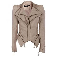 Forever Unique Womens Nude Faux Leather Biker Style Jacket