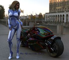 I believe this is the future of cruisers,. probably dubbed a sports cruiser with high energy electric motor and V twin & generator with electric motor hubs, hi volt discharge capaciors and boron battieries, performance would exceed that of bike. Biker Chick, Biker Girl, Motard Sexy, Hot Bikes, Street Bikes, Looks Cool, Cyberpunk, Bike Life, Cars And Motorcycles