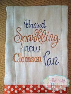 Brand Sparkling New Clemson Fan Monogrammed Burp by Bellabug08