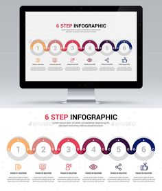 6 Step Infographic Template Vector EPS, AI Illustrator