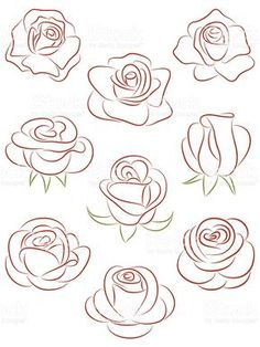 Set of roses. Set of roses. Royalty free set of roses vector illustration stock vector art and more images of abstract - Art Floral, Easy Drawings, Pencil Drawings, Horse Drawings, Images Of Drawings, Pencil Art, Images Photos, Tattoo Drawings, Free Vector Art