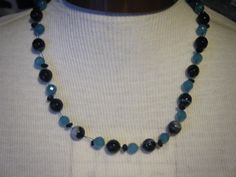 Teal and Black Agate Necklace by Blandsgill on Etsy, £7.50