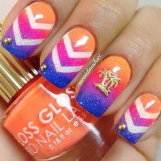 Chevron nail art. Great color combination! Palm tree island tropical. reireishnailart #nail #nails #nailart