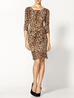 Calvin Klein leopard dress this would be hot with some red pumps and red lipstick