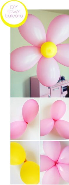 DIY flower balloons ♥ Eye catching & with no helium VERY cheap! (Use purple polka dot and yellow center)                                                                                                                                                     More