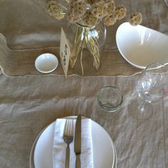 Taupe and slate and white table setting