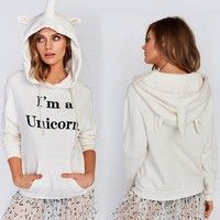 Wish | Women's Fashion Black English Letters Pattern Printed Unicorn Hoodies Casual Hooded Long-sleeved Sweatshirts Women Clothing