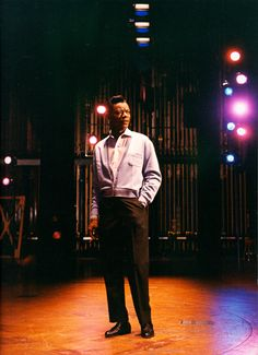 Nat King Cole during a recording session at Capitol Studios, 1960s