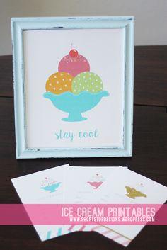 Ice Cream Printables - Free Ice Cream Invitations & Print. Perfect for Summer decor and ice cream party!