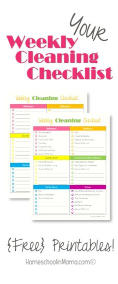 Your Weekly Cleaning Checklist with {free} printable! #HSMama #organization #keepitclean