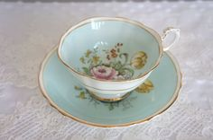 Beautiful Antique Paragon  Pastel Blue Tea Cup by VintageFlares