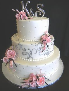 Pink and Silver Wedding Cakes add navy blue in here somewhere