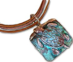 Verdigris Patina Solid Brass Large Sea Turtle Pendant on Triple Rawhide * Continue to the product at the image link.(This is an Amazon affiliate link)