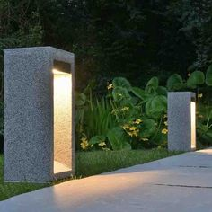 Take a look at this magnificent outdoor lighting wedding - what an original design and development Light Granite, Concrete Light, Concrete Lamp, Concrete Garden, Concrete Design, Sidewalk Lighting, Driveway Lighting, Exterior Lighting, Garden Lighting Effects