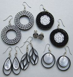 Quilling Earrings Black and White Teardrop by BarbarasBeautys, $11.00